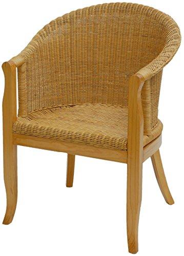 korb.outlet Rattan-Sessel mit Holzbeinen, Sessel aus echtem Rattan in der Farbe Honig - Rattanstuhl Club -