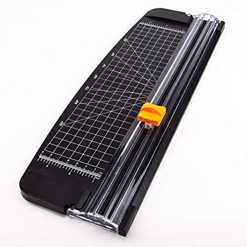 AIEX Papierschneider A4 Papierschneidegerät Tragbare Papierschneidemaschine Fotoschneider Guillotine mit automatischem Sicherheitsschutz für Hause und Büro Papier,Bastelpapier(schwarz, 14.8 Zoll)