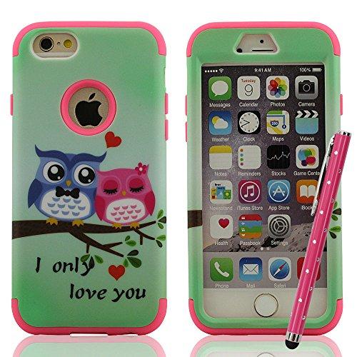 Schutzhülle iPhone 6 Plus Hülle, Case Cover Handy Tasche für iPhone 6 Plus & iPhone 6S Plus 5.5 Zoll, Hart & weich Hybride Material Dual-Layer Entwurf, Heavy Duty Schutz, Farbig Malerei vielfarbig Ser Hot Pink