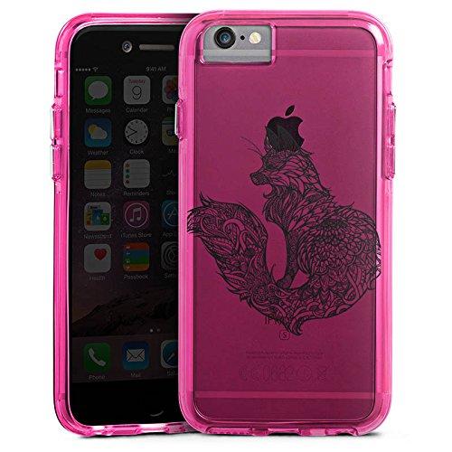 Apple iPhone 6 Plus Bumper Hülle Bumper Case Glitzer Hülle Transparent mit Muster Fuchs Mandala Bumper Case transparent pink