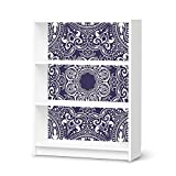 Dekosticker für IKEA Billy Regal 3 Fächer | Muster Möbel-Aufkleber Folie Möbelfolie selbstklebend | Möbel aufpeppen Wohn Deko Ideen | Design Motiv Blue Mandala