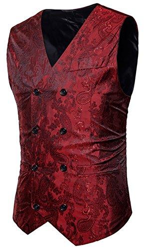 WHATLEES Herren Enge Anzugweste aus Jacquard Smoking mit glitzerndem Paisley Muster, B933-red, XL -