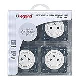 Legrand LEG200260 Céliane2 Lot de 4 Prises de courant avec terre composable Blanc