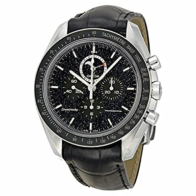 Omega Omega Speedmaster Chronograph Black Dial Black Leather Mens Watch 31133443201001
