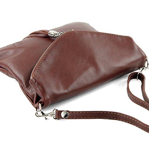 borsa di pelle ital. pochette pochette borsa tracolla Ragazze T139 piccola pelletteria T139 Braun