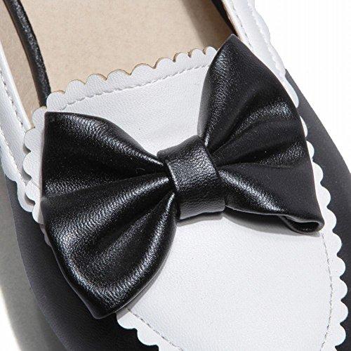 Mee Shoes Damen modern süß populär runder toe mit Schleife Spitze Geschlossen Plateau Pumps mit hohen Absätzen Schwarz