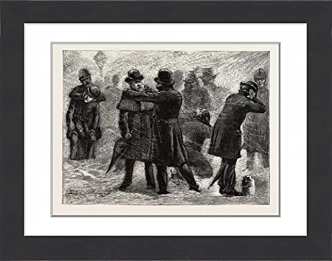 Framed Print Of Blizzard In New York, A Policeman Rubbing Snow On The Frozen Ears Of A Passer By