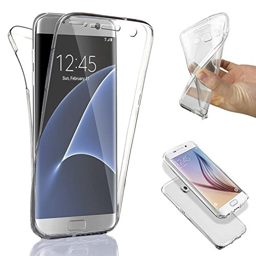 SAVFY® Custodia full body Samsung Galaxy S7 Edge, Protezione a 360°, Morbido TPU Case Cover Ultra Sottile, Resistente Ai Graffi - Transparente