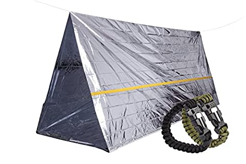 STEPS Emergency Tent Survival Shelter Mylar Thermal Reflective Tube, plus Free Two Survival Bracelet