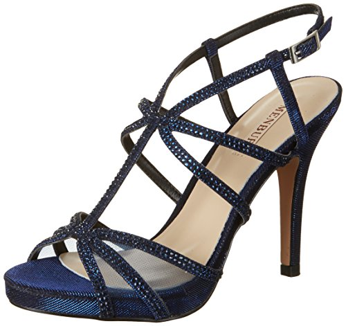 Menbur Damen Chipre Plateausandalen Blau (Midnight-blue)