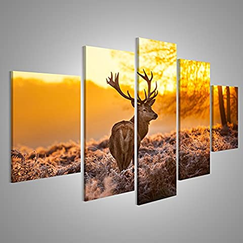 Large Canvas Art Print Deer In The Forest Sunset Modern Pictures Print Posters On Canvas