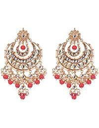 VALAGO Chandbalis With Kundan And Pearl Droppings Golden Wedding Designer Earrings For Women & Girls
