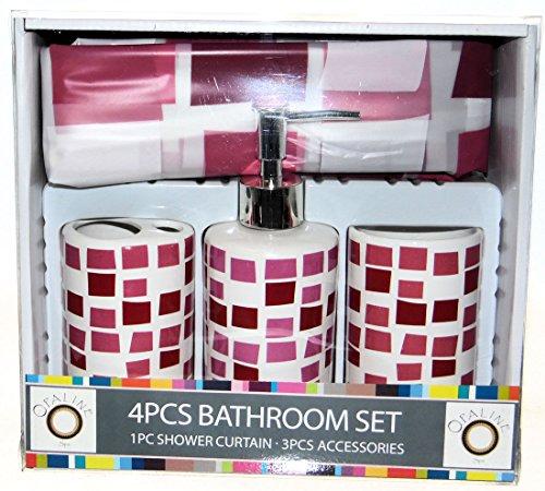 Opaline Burgunderrot Pink Squares Design 4Stück Keramik Bad Ensemble mit, Vorhang für die Dusche, Lotionspender, Zahnbürstenhalter & Becher (Burgund Zahnbürstenhalter)