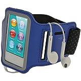 igadgitz U2045 Reflektierende Anti-Rutsch Neopren Sports Armband Oberarmtasche Tasche Schutz Hülle Etui Case für Apple iPod Nano 7. Generation 16GB 7G, Blau