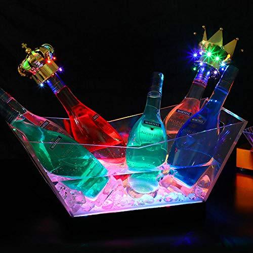 Velliceasay Beleuchtete Eiskübel LED Champagner Boot Acryl, ideal für Cocktailpartys, Geburtstage und Jubiläen Wein oder Champagner-Flaschen Eiskübel, Weinkühler Eimer Bar Tools, Weinzubehör, bunt -