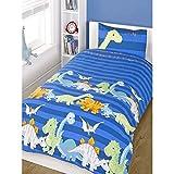 Set de sábanas para niños (algodón), mezcla de algodón, Dinosaurio - azul, amarillo, verde lima, funda de edredón individual