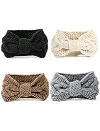 DRESHOW 4 Piezas Crochet Arco Turbante Knit Diadema Mujer Invierno Vendas Elasticas Anchas Tejida Lana Cintas