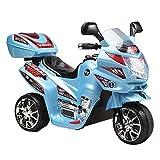Kinder Elektromotorrad 6V C051 12 W Motor bis 3 km/h mit Musik und Licht (Blau)