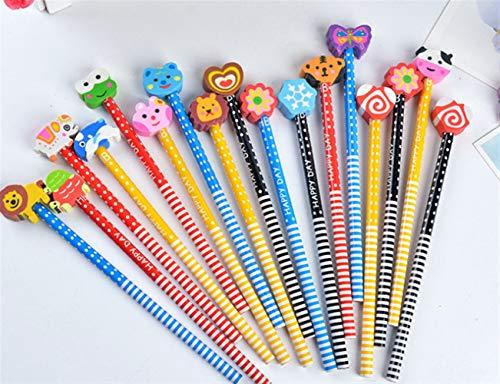 Zehn Stück Kinder kreative Cartoon Bleistift mit niedlichen Radiergummi für ein Geschenk von Huyizhi