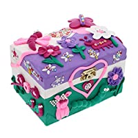 Kids Jewelry Box for Girls! Creative Craft Kit with Wooden Jewellery Box, 5 Colors Air Dry Clay, Sculpting Tool, & 4 Sheets Glitter Gem Stickers   Gift for Girl of Any Age, Fun DIY Arts and Crafts Set