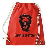 12 Monkeys Unmake History Turnbeutel Sportbeutel Jutebeutel Rucksack Spruch Sprüche Hipster Design, red