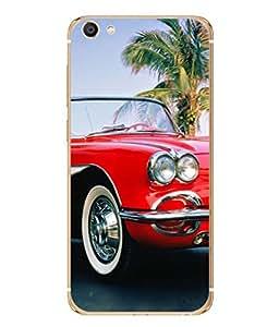PrintVisa Vintage Red High Gloss Designer Back Case Cover for Vivo X7 Plus