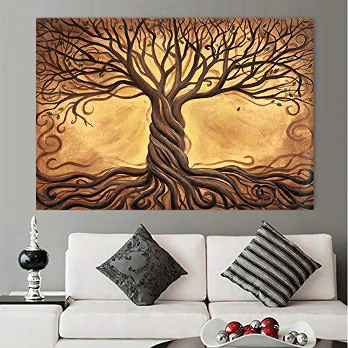 Baum des Lebens abstrakte Leinwand Bibel Wald Pflanze Poster drucken Wandbild Wohnzimmer moderne Wohnkultur Salon (kein Rahmen) R1 60 x 80 cm