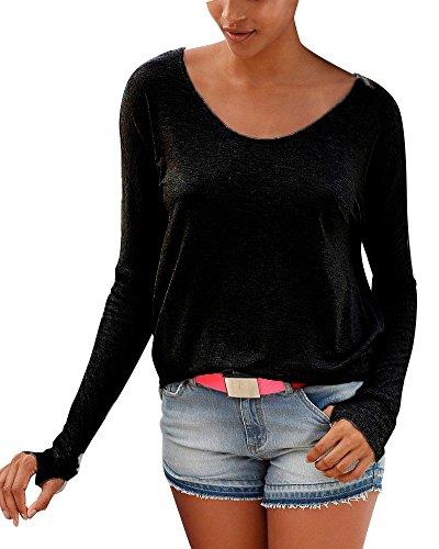 PengGeng Donna Casual Temperamento Semplice Traspirante T Shirt Manica Lunga Magliette Nero