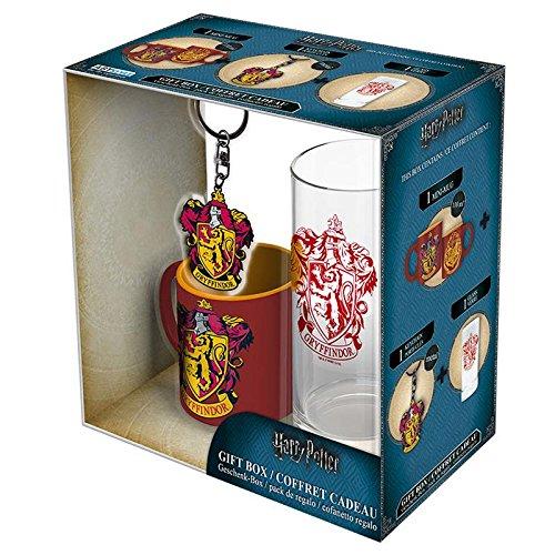 Harry Potter Geschenkbox Gryffindor – Geschenkset (Glas, Tasse, Schlüsselanhänger)