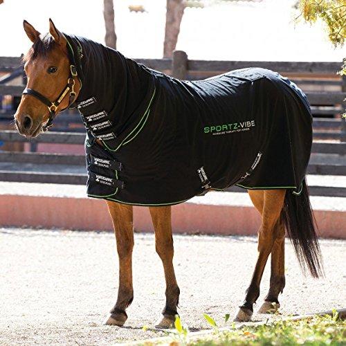 Horseware Sport zvibe Horse Rug, Black/Black & Green, Small