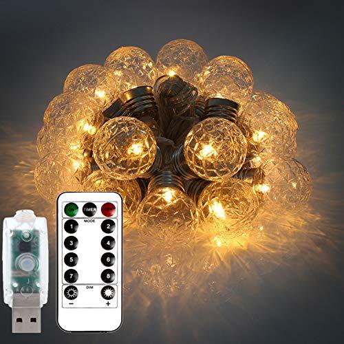 3af77413f0 Catena Luminosa Telecomando Timer,Luci Stringa USB Impermeabile,Wafly 6M 20  Palle Luci Natale