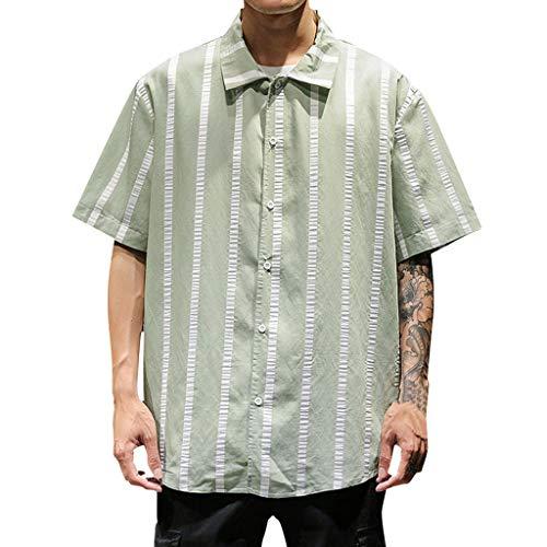 Herren Streifen Hawaii Hemd Schwarz T Shirt Baumwolle Freizeit Leicht Tops Kurzarm Hochzeit Business Top Männer Sommer Shirts Slim Hemden Stand Sport Fitness Freizeithemd Tee