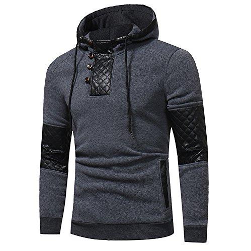 Xmiral Herren Hoodie Kapuzenpullover Herbst und Winter Baumwollmischung Sweatshirt-Jacke(XXL,Grau)