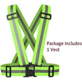 LifeKrafts Safety Reflective Vest for Outdoor Sports Such as Running, Jogging, Cycling, Walking and Hiking - Elastic, Lightweight, Adjustable and High Visibility