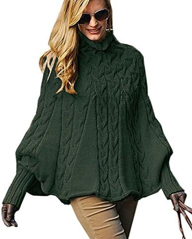 Mikos*Eleganter Damen Poncho Rollkragenpullover Damen Pullover Strickponcho Cape Zopfstickmuster Warm