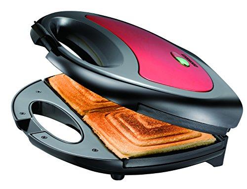 Melissa Sandwichmaker für 2 Sandwiches Schwarz-Rot 750 Watt Toaster Sandwichgrill