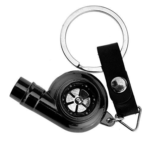 Turbo Pfeifend Schwarz Chrom Schlüsselanhänger mit drehendem Verdichterrad Felge