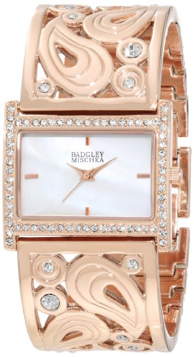 badgley-mischka-womens-ba-1226wmrg-swarovski-crystal-accented-rose-gold-tone-bangle-watch