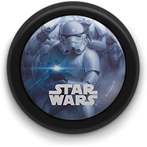 Philips Star Wars Soldado Imperial - Luz nocturna, encendido y apagado, luz blanca cálida, bombilla LED de 0,3 W, requiere 2 pilas AAA, color