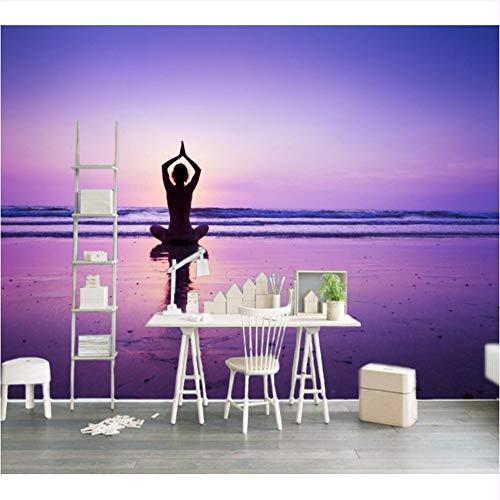 Ytdzsw Hd Seaside Yoga Schöne Dekorative Wand Benutzerdefinierte 3D Gym Tapete Yoga Hall Wandbild Sunset Seaside Room Wallpaper-250X175Cm