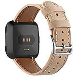 DBoer für Fitbit Versa Bands, 22mm echtes Lederband Ersatz Zubehör Frauen Männer Gurt für Fitbit Versa Fitness Smart Watch Beige