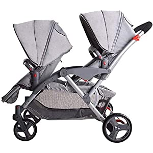 Wuyeti Twin Baby Stroller Summer High Landscape Buggies with Visual Sunroof Lightweight Foldable Double Pushchair Trolley, Adjustable Seat Orientation,Yellow (Color : Grey)   8