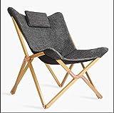 Silla de salón portátil de Madera con sillones reclinables de cojín for Silla de Color Gris Oscuro (Color : Wooden Color)