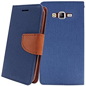 Samsung Galaxy A5 Cover, Relax&Shop Premium Look Flip Cover For Samsung Galaxy A5- (Navy Blue + Stylus)