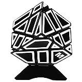 Emorefun Qin Soomth Puzzle Cube Ahueca hacia fuera la etiqueta engomada blanca 3x3 Ghost Cube Black (Titular de la base incluido)