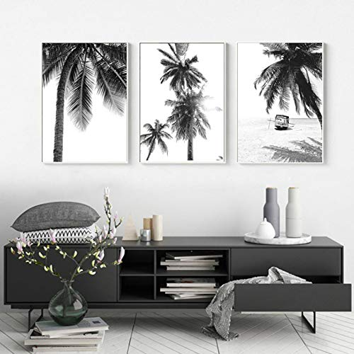 YCOLLC Wanddekoration Nordic Tropische Palme Leinwand Malerei Schwarz Weiß Strand Poster Drucken Landschaft Wandkunst Bild für Wohnzimmer Wohnkultur Kein Rahmen20x30cmx3 - Strand Leinwand Drucken