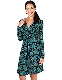 KRISP Women's Long Sleeve Gathered Tied Knot Dress