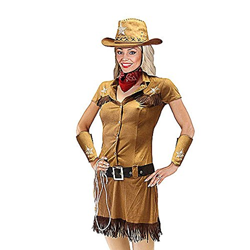 """(Widmann 05571 - Erwachsenenkostüm Cowgirl, Kleid, Gürtel, Ä""""rmelstulpen, Bandana, Hut und Lasso, Größe S)"""