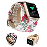 X-cool para correa apple watch Mujeres Largo Doble Círculo Suave Cuero Flor Banda para Apple Watch (Blanco-38mm)
