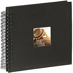 Hama Fotoalbum (28 x 24 cm, 50 schwarze Seiten, 25 Blatt, mit Ausschnitt für Bildeinschub, Fotobuch) schwarz